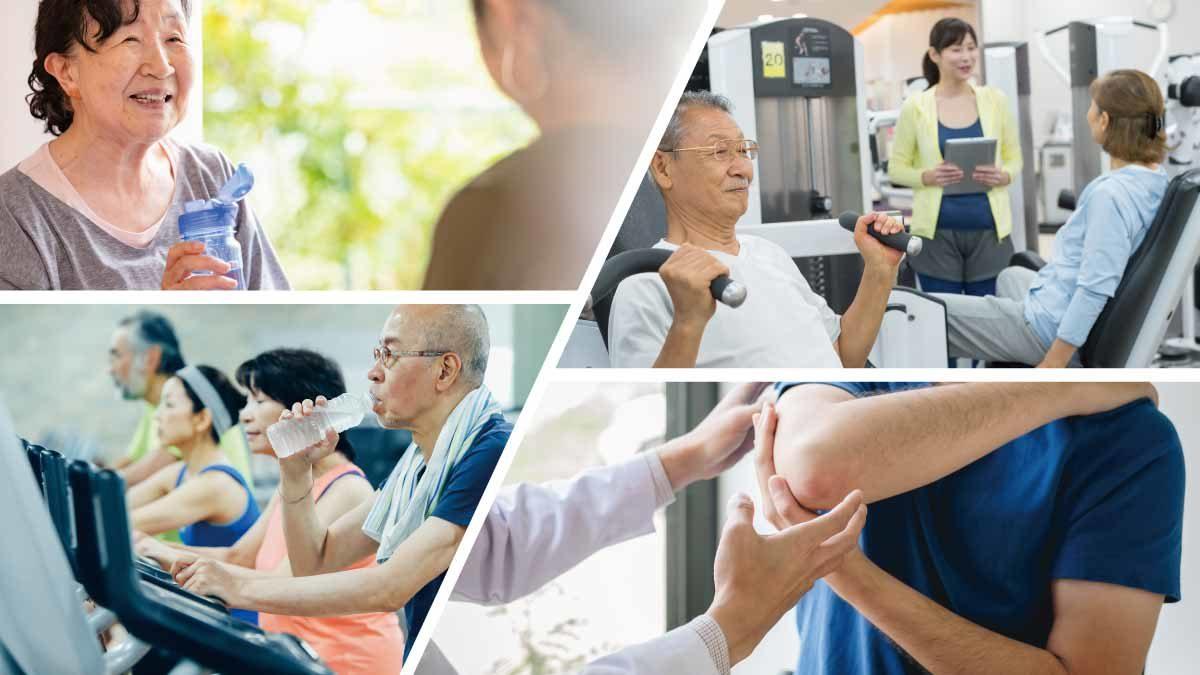 メディカルフィットネス施設に訪れる高齢者やスポーツ外傷の利用者のイメージ
